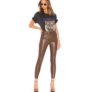 free people Brown High Waist Vegan Leather Legging